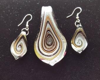 Lampwork Murano Glass Pendant and Earrings