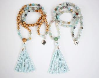 Matte Amazonite & Cedarwood Mala, 108 Bead Mala, Handknotted Mala, Silk Tassel Necklace, Meditation Mala, 6mm Bead Mala, Boho, Yoga Mala