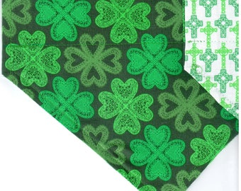 Celtic Shamrocks + Crosses | St Patrick's Day Dog Bandana | Puppy Bandana | Pet Bandana | Over the Collar Bandana
