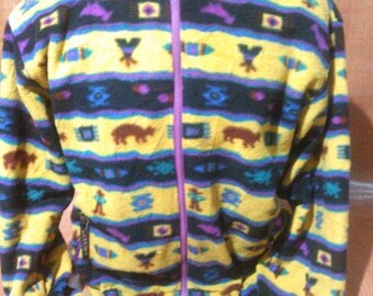 Vintage Native Aztec Reversible Jacket Kolon Sports Outdoor Jacket