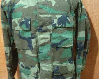 Vintage Woodland Camouflage Military Jacket Vintage Combat Pattern BDU Jacket Military Camo US Military Jacket