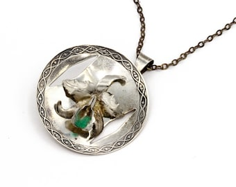 Orchid Cattleya Necklace, 900 Silver Pendant, Silver and Emerald, Raw Emerald Accent, Antique 1940 Jewelry, Made In Colombia, Flower Pendant