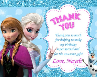 Frozen Thank You Card Birthday Party