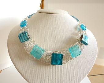 Blue murano beads necklace
