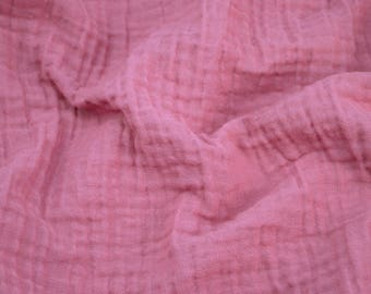 5 yards Berry Pink - Sunny Saloo - 100% cotton fabric from Thailand - double gauze or muslin fabric with no grid lines