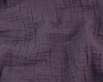 10 yards Eggplant Purple - Sunny Saloo - 100% cotton fabric from Thailand - double gauze or muslin fabric with no grid lines