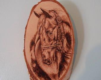 Horse art, horse decor, horse wall hanging, horse wall decor, woodburning