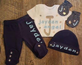 Newborn, Baby Boy, Going Home Outfit, Bodysuit, Boy Baby Shower, Gift ...Monogrammed With Child's Name (Can Add Matching Blanket)