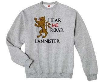Game of Thrones Sweatshirt, House Lannister, GOT Hear Me Roar, Hoodie, Custom Embroidered