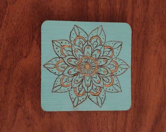 Turquoise Mandala Wood Coaster 4 Set