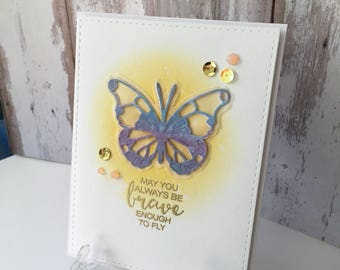 Encourage card, greating card, inspiration , butterfly , embossing , distress ink, gold, sequence , novo drops, hand made, beautiful