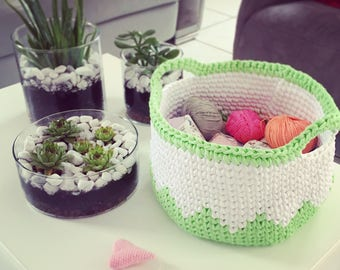 Green and white crochet basket