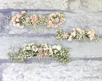 BABY'S Breath Floral Comb   Floral Barrette   Pink Blush Dried Babies Breath   Wedding Crown   Wedding Hair Accessories Custom Made to Order