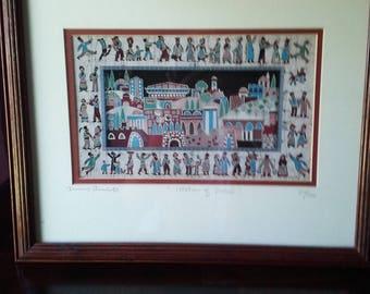 Signed, rare and original Amos Amit limited edition (310/500) batik print
