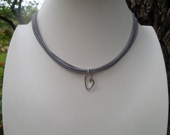 Piano Wire Necklace With Hammered Heart Pendant