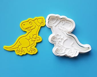 TREX wearing Santa Hat Cookie Cutter and Stamp