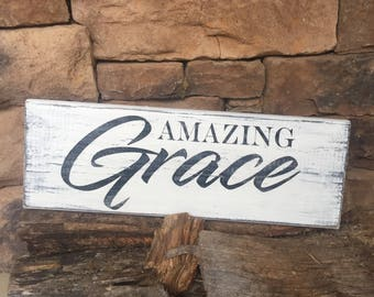 Amazing Grace Wooden Sign, Vintage Sign, Hand Painted Sign