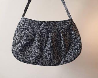 Pleated Fabric Purse, Small - buttercup bag, cotton, handbag, black, grey, ferns, floral