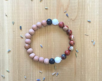 Essential Oil, Diffuser Bracelet, Red Jasper Beads, White Agate Beads, Rosewood Beads, Aromatherapy, Jewelry