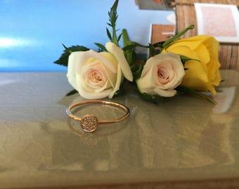 14k Rose Gold Dainty Diamond Ring