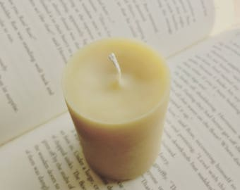 Unscented Small Beeswax and Soy Pillar Candle