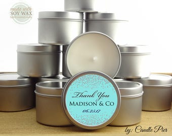 12 ct Silver and robin's egg blue, 4 oz tin candles, personalized soy candles,baby shower favors, wedding favors, bridal shower favors