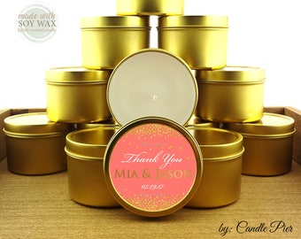 12 ct Gold and coral theme wedding favors, bridal shower favors, anniversary favors, 4 oz tin candles, personalized soy candles