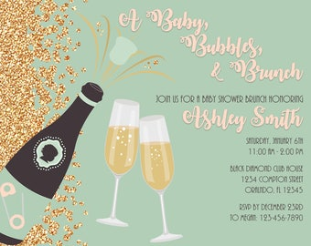Baby, Bubbles, and Brunch Baby Shower Invitation
