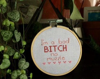 Nicki Minaj / Pound The Alarm wall hanging cross stitch embroidery