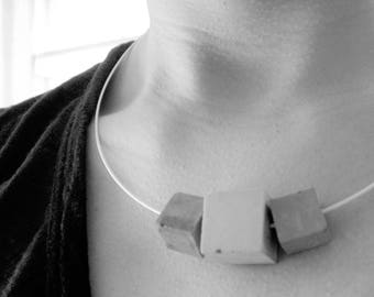 Concrete jewelry. Geometrical Delicate Concrete Necklace. Industrial styke  Architectural. Geometric. Contemporary.