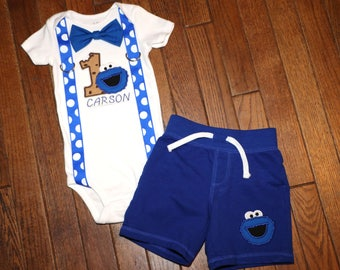 Cookie Monster Birthday Suspender and Bow Tie Outfit