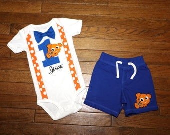 Finding Nemo Birthday Suspender and Bow Tie Outfit with Shorts