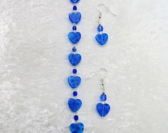 "Blue bracelet set, Blue hearts millefiori bracelet set, hearts bracelet set, 7 & 1/2"" bracelet set with 1"" earrings, 4-BB"