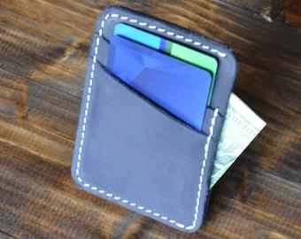 Personalized Slim Front Pocket Wallet, Men's Cardholder, Minimalist Wallet, Distressed Leather Cardholder, Perfect Gift, Navy Blue