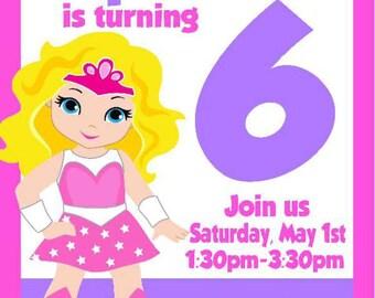 Pink Super Hero Birthday/Printable Invitation/PInk Wonder Woman Party/Wonder Woman Birthday/Girl Birthday/PInkWonder Woman Theme/Digital