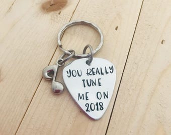 You Really Tune Me On Hand Stamped Guitar Pick Keychain, You Turn Me On Keychain, Valentine's Day
