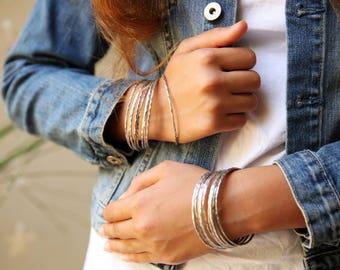 Thin simple bracelet, Womens Bracelet, silver thin bangle bracelet, silver thin bracelet, silver bangle, minimal bracelet, Hammered Bracelet