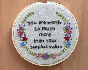 "Anti Capitalist Valentine 5"" Hand Embroidered Hoop Art // Karl Marx // Feminist Gift // Contemporary Embroidery"