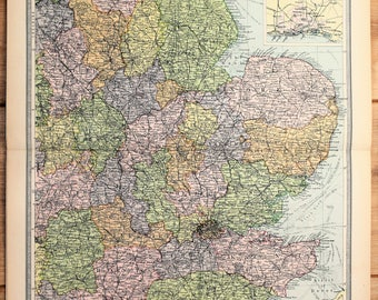 Antique Map : South East England, London, Philips c. 1920. Lovely Pastel Colours