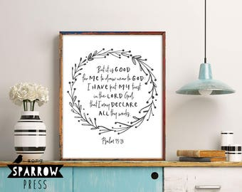 "Bible Verse Wall Art, ""Draw Near to God"", Psalm 73:28, Scripture Art, Scripture Print, Bible Verse Art, Bible Verse Print, Digital Download"
