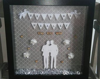 Personalised Mr and Mr Frame, Couples Gift, Wedding Gift, Husband and Husband, Gay Wedding Gift, Groom and Groom, His and His