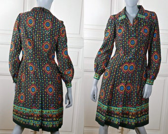 1970s Abstract Floral Dress, Knee-Length Hungarian Vintage Colorful Hostess Dress: 8 US, 12 UK