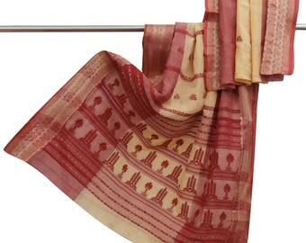 Indian Vintage Woven 100% Pure Cotton Beige Saree Used Craft Fabric Ethnic Sari Pareo Making Fabric 5YD VCS9863