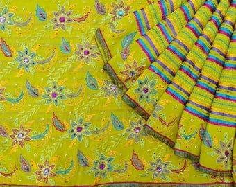 Indian Vintage Georgette Decorative Fabric Saree Embroidered Green Recycled Sari Antique Fabric 5YD VGR6701