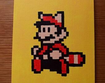 Pixel art Super Mario raccoon painting
