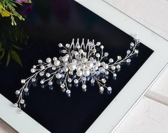 Bridal hair comb, Wedding hair comb, Bridal headpiece, Wedding comb, Pearl hair comb, hair jewelry, hair comb, pearl hair comb, vine