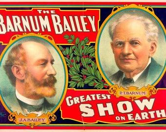 Vintage circus poster 1908 Barnum & Bailey Greatest Show On Earth - art deco-vintage art print - home deco design
