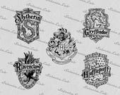 Digital SVG PNG harry potter inspired, gryffindor, ravenclaw, hufflepuff, slytherin, clipart, vector, silhouette, instant download