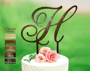 h cake topper, letter cake topper, cake topper wedding, initial cake topper, monogram cake topper, rustic cake topper, topper wood h, CT#141