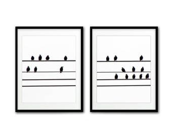 Bird print digital download printable art wall decor black and white birds on wire silhouette print modern home decor photography artwork